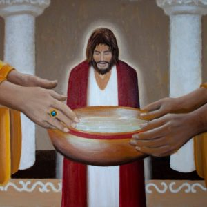 I wanted to depict a strong but humbled Jesus awaiting Pilate's decision about His guilt. This resulted in Pilate washing his hands of it all and handing Jesus over to the crowd who wanted to crucify Him.